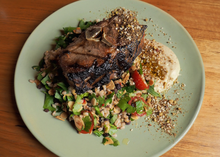 bbq 'barnsley' lamb chop with farro salad