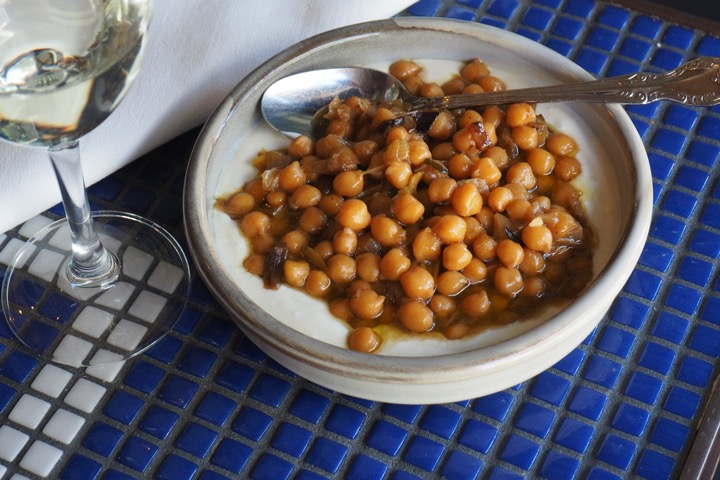Braised chick peas, smoked dashi yoghurt - photo by Ella Mitchell